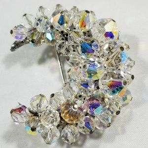 Large vintage custom jewelry brooches pin crystals